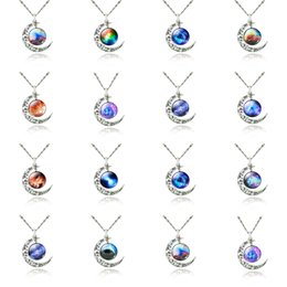 $enCountryForm.capitalKeyWord Australia - Starry Moon Outer Space Chain Crescent Necklace Silver Gemstone Pendant Jewelry Swarovski Mix Models 12 Design DHL Christmas Gift