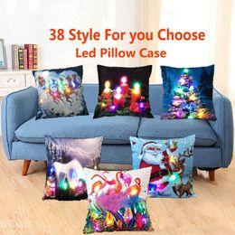 Led Light Luminous Pillow Case 45 45cm Christmas Santa Claus Reindeer Snow Man Pillow Case Sofa Car Decor Cushion 38 Styles Hh P11