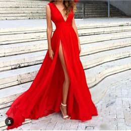 Wholesale New Red Evening Dresses Deep V Neck Sweep Train Piping Side Split Modern Long Skirt Cheap Transparent Prom Formal Gowns Pageant Dress
