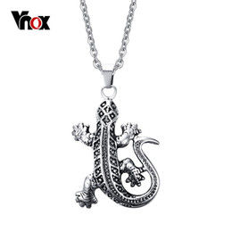 Lizard Pendant Necklace Canada - Lizard Punk Mens Pendants & Necklaces Stainless Steel Pendant for Men Charms Jewelry Free 20 inch Chain