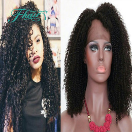 """32 Hair NZ - Sexy 100% Peruvian Remy Human Hair 8""""-32"""" Inch Black Kinky Curly Human Hair Lace Front Wig DHL Free Shipping"""