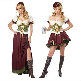 Oktoberfest Halloween Costumes Canada - Oktoberfest Beer Girl Sexy Maid Dress Low-Cut Vintage Luxury Cosplay Halloween National Costumes Dance Performance Clothing Hot Selling