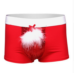Barato Trajes Sexy-2016 New Year Christmas Underwear Men's Boxer Shorts Feather + Bead Piece Have S-XL Red Color Sexy Men Halloween Costumes