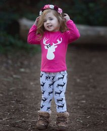 Wholesale new style t shirts for girls online – design Christmas sets for baby girl Reindeer Rose T shirt Long sleeve Pant set Children clothing months months New arrival