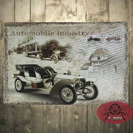 Automobile Industry Bar Dining Room Wall Art Vintage Style Retro Car Sign Decoration B 108 160909