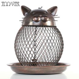 Wholesale Tooarts Cat Shaped Bird Feeder Cat Shaped Vintage Handmade Outdoor Decoration Villa Garden Decoration Hanging Style Cast Metal