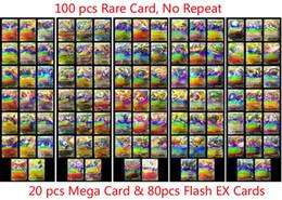 Ingrosso 100 Pz / lotto EX Mega Shine Inglese EX Card 20 mega + 80 Flash Nessun ripetizione Collectiv Bambini Giocattoli di Natale