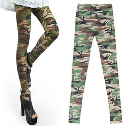 Pantalon De Camouflage De Printemps Pas Cher-Vente en gros- Printemps été Hot Fashion Women Sexy Camo Camouflage Stretch Pantalons Army Green Slim Tights Pants