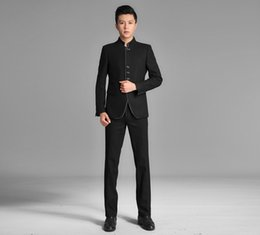 Barato Ternos Chineses-Wholesale- (Jacket + Pants) 2017 Fashion Brand Men Ternos Black Blazers Slim Custom Fit Tuxedo Túnica chinesa Prom Groom Wedding Wear