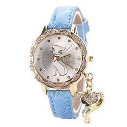Wholesale 2016 Fashion Cute Cat Pattern Women Girl Watch Luxury Diamond Analog Leather Casual Quartz Wrist Watches