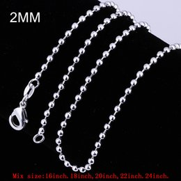 "$enCountryForm.capitalKeyWord NZ - Mix Size 2mm Ball Chain Necklace 925 Sterling Silver Beads Link Chain Fit Charms Necklaces 16"" 18"" 20"" 22"" 24"""
