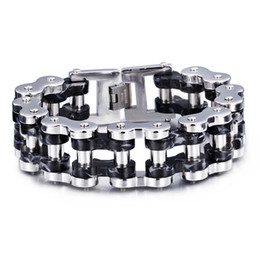 motorcycle chain bracelet clasp NZ - High Quality Men's So Cool Gifts Wide Huge Heavy Black Biker Stainless Steel Motorcycle chain Bracelet Jewelry 24mm 9.2''