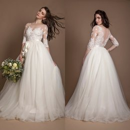 Wholesale lace three quarter sleeve for sale – plus size 2019 New Plus Size Three Quarter Sleeve Wedding Dresses Ivory Beaded Illusion Lace and Tulle Wedding Gown