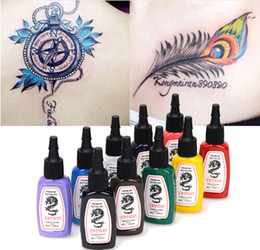 Discount makeup bottles - 10 Colors Bottles Tattoo Ink Pigment Set Kits for Body Art Tattoo 15ml 1 2 OZ Professinal Beauty Makeup Tattoo Inks Free