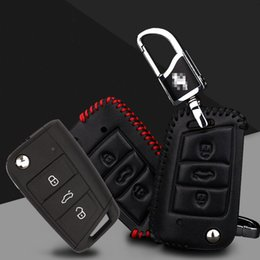 volkswagen leather key case NZ - Car-styling Premium Leather Remote Key Holder Fob Case Cover For VOLKSWAGEN Golf 7 Tiguan Pasate Sagitar