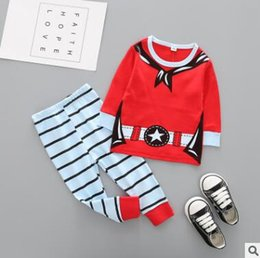 Barato Conjuntos De Peças De Menino-Pijamas de Natal Set 2 Piece Kids Cartoon Reindeer Snowman Pijamas Algodão Kids Pijamas Conjuntos Boys Girls Striped Nightwear Vestuário Outfits