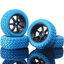 Electric Road Cars UK - RC HSP 9005B-8019 Blue Rally Tires & Wheel Rims 4P For 1:10 On-Road Rally Car