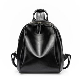 Fashion Backpacks Pure Leather School Bags Simple Cowhide Double Shoulder  Bag for Colleage Girl Christmas Gift 0954612c9a