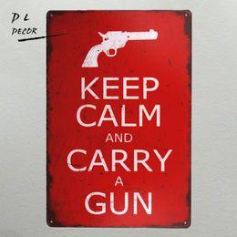 Discount modern house art - DL-keep calm and carry a gun vintage Metal Sign home decor tin art decor drip tray house rules wall art