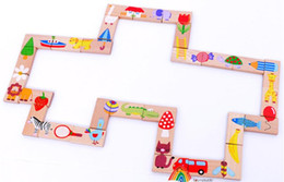 wooden domino puzzle NZ - Early childhood educational wooden animal puzzle   Solitaire domino toys 28
