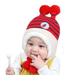 Unisex Beanies Child Bee Design Ribbed Knit Earflap Ear Bobbles Hats Kid  Winter Warm Plush Lined Stripe Earmuffs Caps MZ5232 18b4ee1c15ca