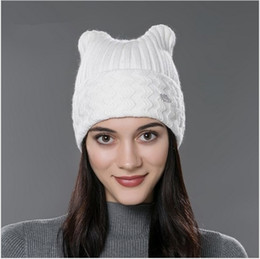 Beanies For Winter Canada - Brand 2016 New Winter Cotton Knitted Caps For Parent-child Lovely Cat Ear Beanies Cute Casual Hats New Arrivaled Gorros