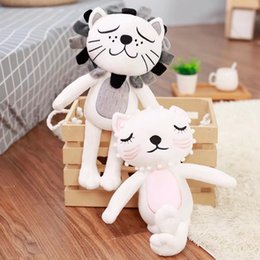 lion soft toy NZ - 40CM Kawaii Lion Cat Plush Toys Stuffed Animals Fluffy Cat Dolls Soft Kids Toys Children Gifts Christmas Gifts