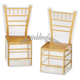 clear wedding chairs UK - Free Shipping 50pcs Wedding Faovrs Miniature Clear PVC Gold Chair Chiavari Favor Boxes Party Favors Anniversary Decor Ideas