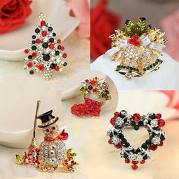 fae8784b2c1 Christmas Brooch Rhinestone Crystal Brooches Jeweled Christmas Trees  Snowman Snowflake Brooch And Pin Clothes Decor Christmas Gifts