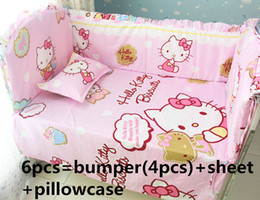 $enCountryForm.capitalKeyWord Canada - Promotion! 6PCS Hello Kitty Bedding Set Handmade Baby Girl And Boy Crib Bedding Sets Baby Crib Set (bumpers+sheet+pillow cover)