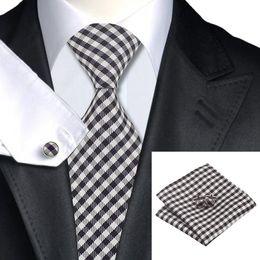 Brown Tie Hanky Sets NZ - Brown White Classic Men's Tie Cufflinks Hanky Jaquard Wovn Silk Tie Clearance Sale Formal Wedding Tie for Men N-0762