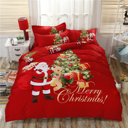 deer bedding queen Canada - New ARRIVED Christmas Bedding set king size SantaClaus 4pcs sets 3D Blue Snow White christmas deer printed Bedsheet Duvet covers pillow case