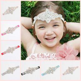 2018 Childrens Wedding Hair Accessories Girls Baby Crystal Rhinestone Flower Headbands Infant Elastic