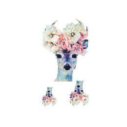 $enCountryForm.capitalKeyWord UK - Cool Flower Deer Drawing Body Art Temporary Tattoo Animal Designs Waterproof Fake Tattoos Sticker Glitter Sleeves Paster