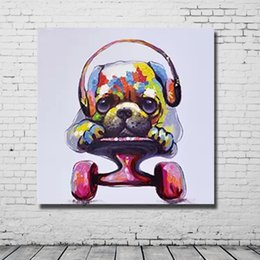 Hand Cartoon Canada - Free shipping hand drawing 3d animal dog oil painting abstract cartoon dog listen music headphone wall hanging decoration