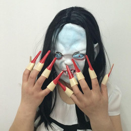 $enCountryForm.capitalKeyWord Canada - Halloween Ghost Costume Long Black Hair Ghost Mask And Ghost Nail Set Costume Scary Yamamura Sadako Mask Costume