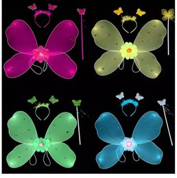 Barato Dança Das Asas Das Crianças-Child Fairy Set Wings / Wand / Headband com strass Princesa Fairy Butterfly Wing para crianças Dance Dress Costumes Performing Props LP40112