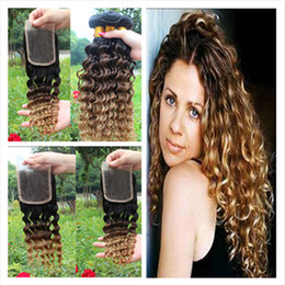 malaysian wavy human hair NZ - Malaysian Deep Wave Wavy Ombre Human Hair Extensions #1B 4 27 Ombre Hair Weave Bundles With Three Tone Ombre Lace Closure 4Pcs Lot