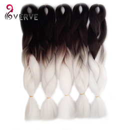 Ombre Kanekalon Jumbo Braid Hair UK - 1Pcs Ombre Kanekalon Jumbo Synthetic Braiding hair 24inch 100g Black&white two Tone colors jumbo Braids Hair Extensions