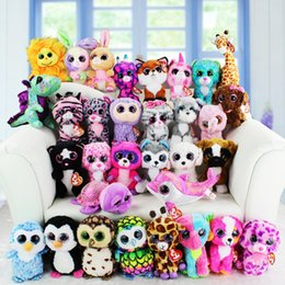 Ty Beanie Boos Wholesale Canada - 120pcs Hot Selling The new TY beanie boos 6.5inch 17CM Crystal Big Eyes plush Stuffed Toy Doll For Children Gifts