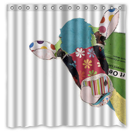 Funky Cool Collage Pasteup Art Cow Design Shower Curtain Size 180 X 180 Cm  Custom Waterproof Polyester Fabric Bath Shower Curtains