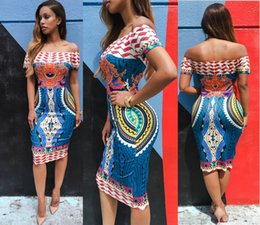 Conception De Robe Pour Femmes Courtes Pas Cher-2017 Nouvelle mode africaine conçus femmes traditionnelles africaines Dashiki Bodycon robe sexy à manches courtes robe d'épaule New Boho Vestidos