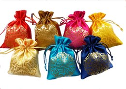 fabric gift bag christmas NZ - Chinese Joyous Drawstring Silk Fabric Pouch Christmas Birthday Party Favor Candy Bags Gift Packaging Bag Wholesale size 9x12 cm 50pcs  lot