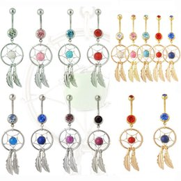 $enCountryForm.capitalKeyWord NZ - 2016 Hot Dream Catcher Jewelry Dangling Belly Button Rings Navel Ring Body Piercing Jewelry 15 colors