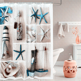 fabric polyester blue sea life seashell waterproof shower curtain thicken shower curtains bathroom curtain size 180 cm 180 cm