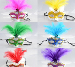 Discount make princess mask - Halloween Mask Venice Beauty Feather Mask Lace Princess Princess Make-Up Ball Child Half Face Mask