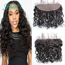 "bleach products Australia - 2016 Products Wet And Wavy Lace Frontal Free Part Indian 9A Water Wave Ear To Ear Lace Frontal Closure 13x4"" Bleached Knots"