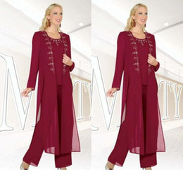 mothers suits Australia - Fuchsia Three-Pieces Mother of the Bride Suits with Jackets Long Sleeve Beaded Chiffon Formal Wear 3 piece mother's pant Custom Made