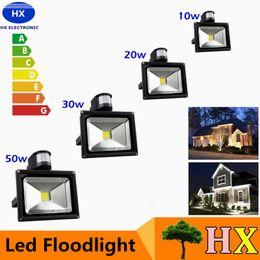 Ingrosso Promo 10W 20W 30W 50W 100W PIR LED Luce di inondazione con sensore di movimento Spotlight Impermeabile Lampada per proiettore LED all'aperto Caldo freddo bianco AC85-265V