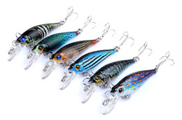 Discount painting fishing lures NEW PS Painted Laser wobbler Minnow lure 6.5cm 5g Freshwater Fishing crap swimbaits simulation Fish bait with hooks
